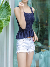 Load image into Gallery viewer, 3 colors sexy slim pleated camisole tops for vacation beach holiday