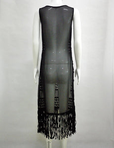 Black and White Women long section blouse weaving stitching tassel beach dress