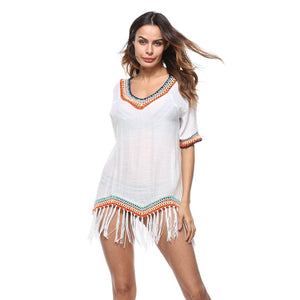 Knit Tassel Short Sleeve Tops Swimwear Bikini Cover Up