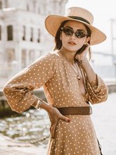 Load image into Gallery viewer, Pretty Bohemia Polka-dot Long Sleeve V Neck Maxi Dress