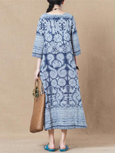 Load image into Gallery viewer, Print Linen Cotton Loose Maxi Dress