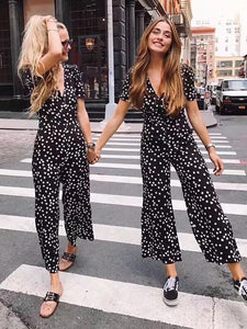 Floral V Neck Short Sleeve Summer Jumpsuit