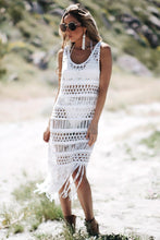 Load image into Gallery viewer, Black and White Women long section blouse weaving stitching tassel beach dress