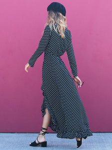 Polka Dot Long Sleeve Maxi Dress