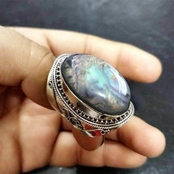 Vintage Natural Gemstone Rainbow Moonstone Gemstone Anniversary Party Engagement Wedding Ring