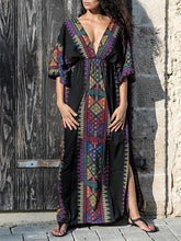 Load image into Gallery viewer, Bohemia Deep V Neck Split-side Elastic Waist Kaftan Beach Dress