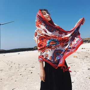 Bohemian Sun Flower Beach Towel Sunscreen Shawl Scarf