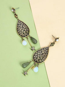 Retro Water Drop National Wind Hollow Long Earrings