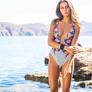 Beach Print Solid Color Flower One-Piece Bikini Swimsuit