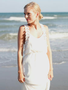 Flower Lace Strap White Maxi Dress