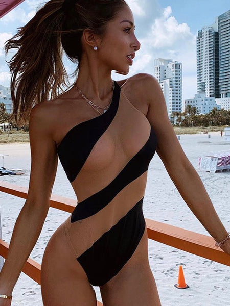 Fashion Women Sexy One Piece Bikini Elegant One Shoulder Transparent Swimsuit