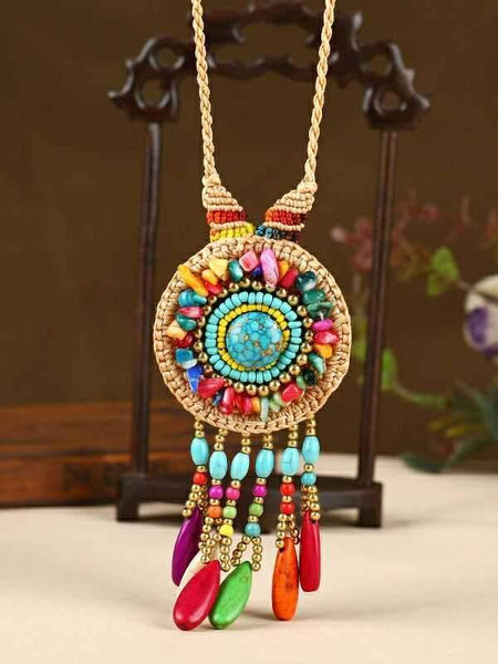 Hand-woven Folk Style Tibet Turquoise Spike Long Necklace