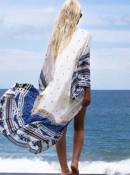Print Long Sleeve Beach Bikini Cover Up