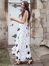 Load image into Gallery viewer, Polka Dot V Neck Sleeveless Maxi Dress
