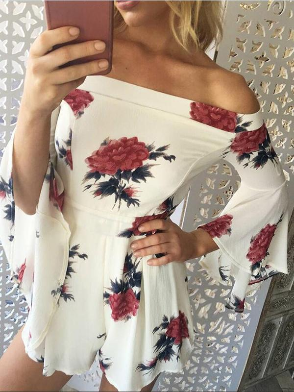 Print Off Shoulder High Waist Long Sleeve Rompers