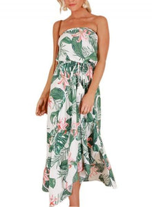 Print Off Shoulder Beach Maxi Dress