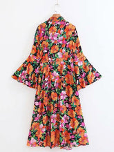 Load image into Gallery viewer, Floral Long Flared Sleeve Loose Maxi Dress