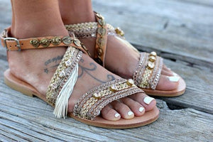 Boho Metal Decoration Flat Bottom Hollowed Casual Plus Size Beach Sandals Shoes