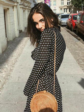 Load image into Gallery viewer, Polka Dot Long Sleeve Maxi Dress