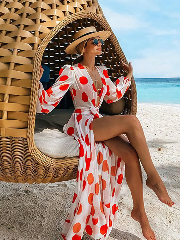 New Wave Point Chiffon Beach Holiday Dress