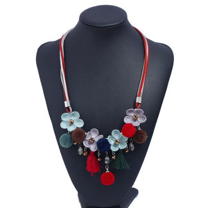 Rhinestone Resin Bead Flower Necklace Accessories