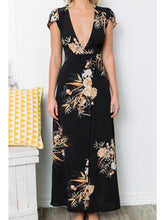 Load image into Gallery viewer, Print V Neck Short Sleeve Split Maxi Dress