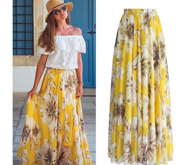 Flower Chiffon Summer Beach Skirt