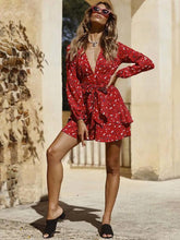 Load image into Gallery viewer, Print V Neck Long Sleeve Mini Dress