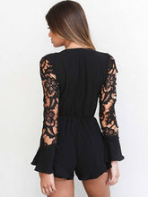 Load image into Gallery viewer, Deep V Neck Long Sleeve Lace Rompers
