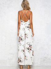Load image into Gallery viewer, Floral Backless Split Jumpsuit Rompers