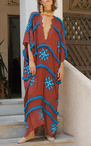Boho V-neck Bat sleeve Irregular Embroidered Raw Mid-sleeve Maxi Dress