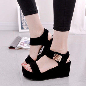 Black Pu Korean Style Metal Platform Hook Loop Peep Toe Gladiator Sandals