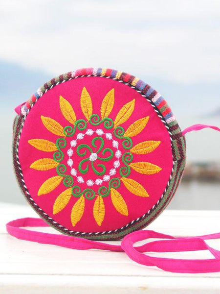 Ethnic Embroidery One-shoulder Diagonal Brand New Sunflower Handbag