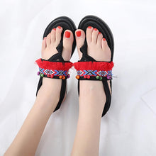 Load image into Gallery viewer, Bohemian Tasseled Flat Heel Sandals Clip Toe  Shoes