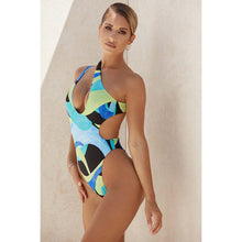 Load image into Gallery viewer, One Piece Swimsuit Women's Sexy Bikini Printed One Shoulder Leaky Back Swimsuit