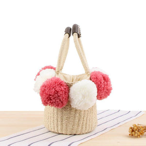 Casual Woven Big Wool Ball Beach Straw Handbag