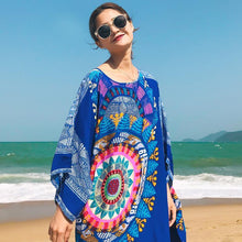 Load image into Gallery viewer, Loose 3 Colors Floral Print Batwing Sleeve Midi Dress