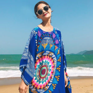 Loose 3 Colors Floral Print Batwing Sleeve Midi Dress