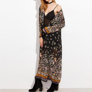 2018 New Chiffon Floral Print Long Sleeve Boho Beach Cover Up