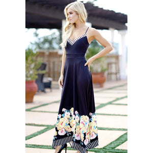 Flower Spaghetti Strap Backless Maxi Dress