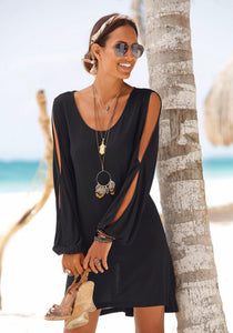 Casual Short Black Dress Swing Long Sleeve Slit  Beach Mini Dress