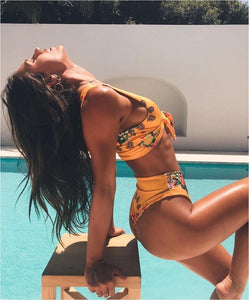 2018 New Sexy Printed Swimwear Beach Bikini