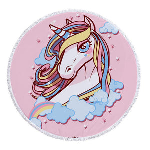 Hand-Painted Cartoon Unicorn Oversized Round Tassel Beach Towel Yoga Mat