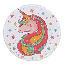 Load image into Gallery viewer, Hand-Painted Cartoon Unicorn Oversized Round Tassel Beach Towel Yoga Mat