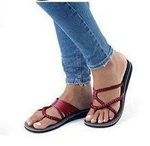 Load image into Gallery viewer, Europe and The United States Beach Toe Flat Slippers Women's Shoes
