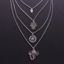 Load image into Gallery viewer, Boho Multi-layer Leaf Elephant Pendant Necklace