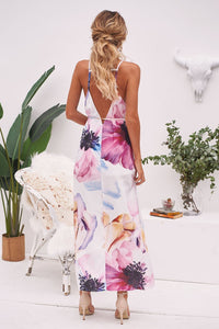 2018 Print Sleeveless Split Beach Dress