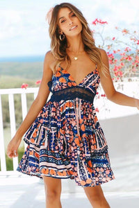 Boho Floral Print Summer Lace-up Ruffles V-neck Mini Dress