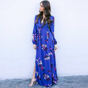 Floral Long Sleeve Side Split High Waist Bohemia Maxi Dress