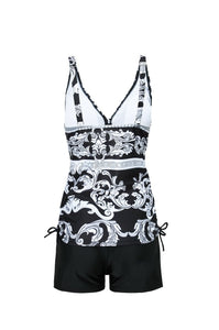 Conservative Large Size Split Flat Angle Print Swimsuit